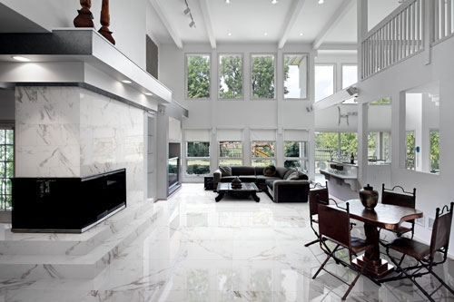 White Calacatta Effect Glossy Porcelain Tiles 60x60