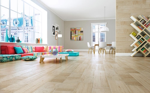 Light Colored wood Effect Porcelain Floor Tiles 23x120