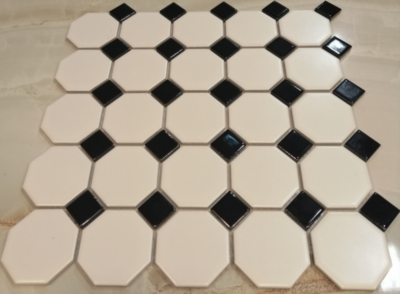 White Black Octagonal Gloss Mosaic Tiles