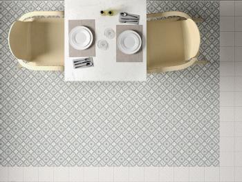 Vintage Pattern Grey and White Antislip Tiles